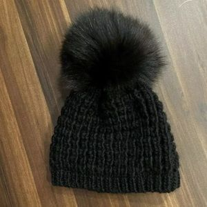 Kyi Kyi Mini Genuine Fox Fur Pom Pom Beanie Kids